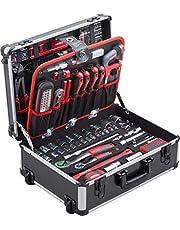 Meister 8971480 Gereedschapskoffer, 238-delig, met wielen, telescopische handgreep, professionele gereedschapskoffer, verrijdbaar op wieltjes, gereedschapskist compleet met gereedschap