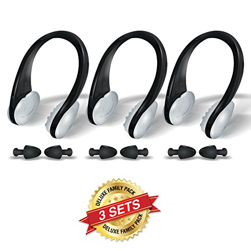 BLUPOND Swimming Nose clips and Earplugs Mega set of 3 Family Pack Pro Edition By (Black)