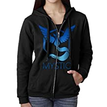 KOBT Women's Mystic Team Logo Pokemon Go Zip-Up Hoodie Jackets Black