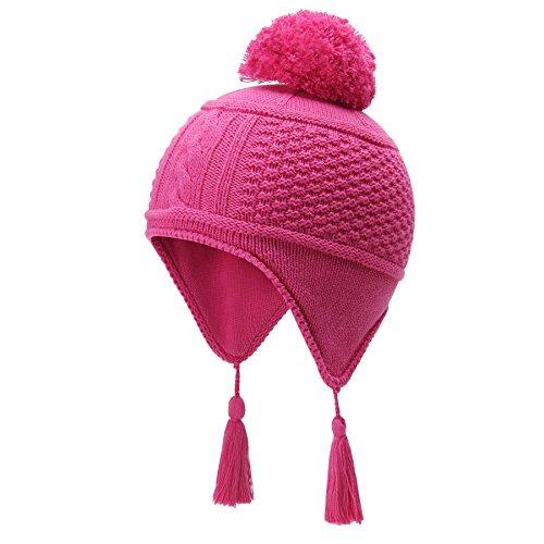 vivobiniya Kid Girl Winter Lovely Earcuff Hat Toddler Girl Knit Hats 0-7T