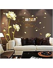 ملصق الحائط ثلاثي الابعاد بتصميم زهرة ذهبية لتزيين المنزل ورق الحائط بتصميم زهرة التوليب الجميلة لتزيين حائط غرفة المعيشة