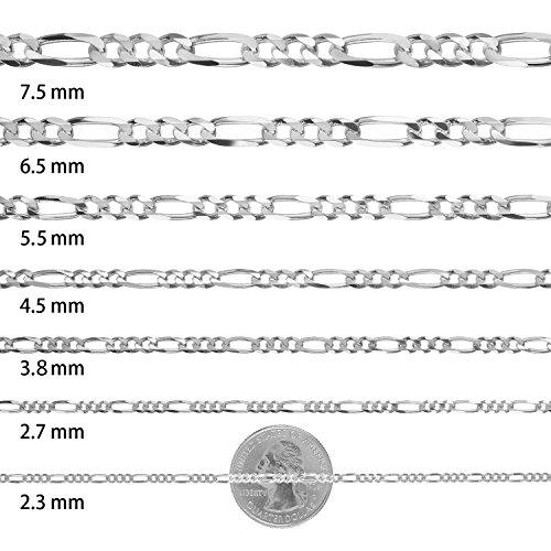 925 Sterling Silver 2.3mm-13mm Nickel-Free Figaro Italian Chain 1820243036 + Bonus Cloth