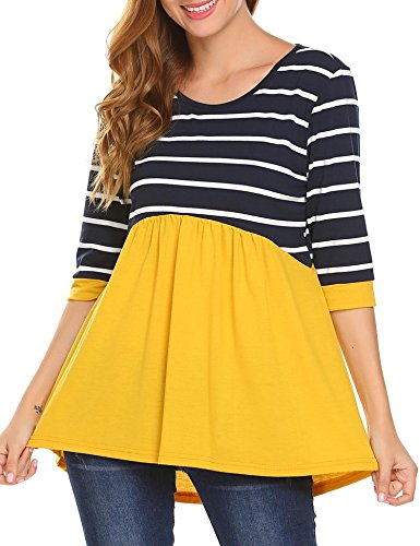 Stripe 3/4 Sleeve Big Shirt (Soteer Womens Tunic Dress, Bohemian 3/4 Sleeve Striped Ruffle Tunic Tops T Shirt Yellow XXL)