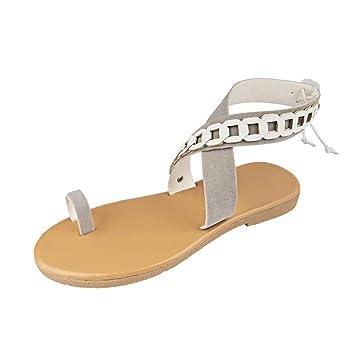 7496588df1 Women Toe Ring Sandal - Ladies Crisscross Ankle Strap Flat Roman Flip Flop  - Summer Beach