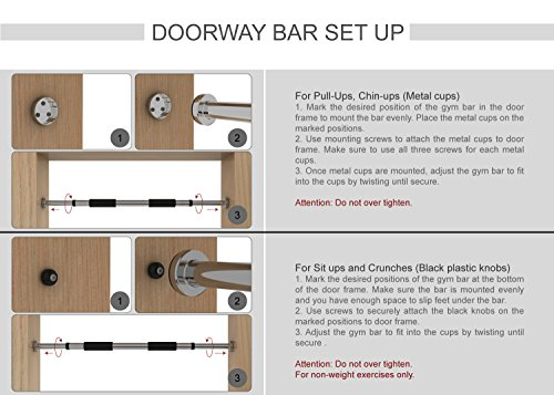 """Yes4All Doorway Pullup Bar / Chinup Bar – Fit Doorways 24"""" 34"""" & Support up to 200 lbs"""