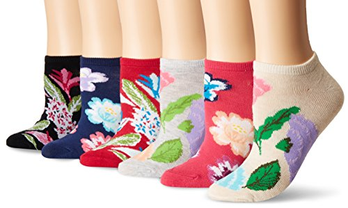 K. Bell Women's 6 Pack Novelty No Show Low Cut Socks, Botanical Floral (Black), Shoe Size: 4-10