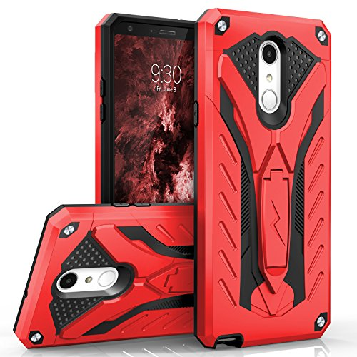 Zizo Static Series Compatible with LG Stylo 4 Case Military Grade Drop Tested with Built in Kickstand RED Black