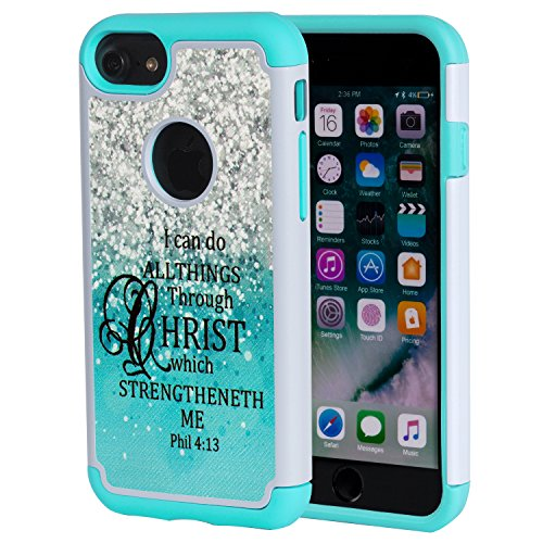 iPhone 7 Case,iPhone 8 Case Christian Quotes,SKYFREE Bible Verse Philippians 4:13 [Shockproof] Hybrid Dual Layer Armor Defender Protective Case Cover for iPhone 7 (2016) / iPhone 8 (2107)