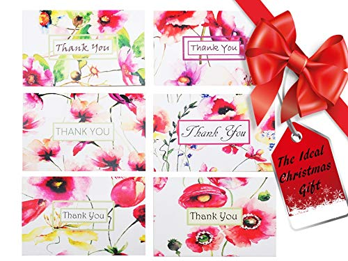 Thank You cards - 42 Bulk Thank You Notes - 6 Floral Designs – Thank You Cards Blank Inside – Quality White Envelopes 6 x 4 inches - Wedding, Baby Shower, Bridal, Business, Anniversary, Graduation