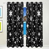 Vantaso Light Shading Window Curtains White Stars In Dark Black Sky Polyester 2 Pannels for Kids Girls Boys Bedroom Living Room 84 inch x 55 inch