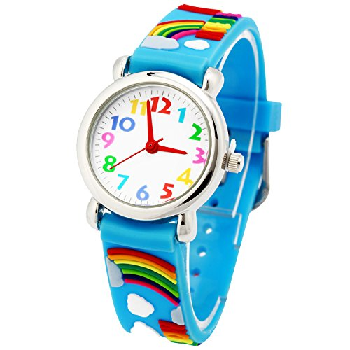 Kid Waterproof 3D Cute Rainbow Cartoon Silicone Quartz Watch for Little Girl Boy Child Gift - Rainbow Cute