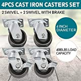 Durable, Large Capacity, Simple, and Elegant 4'' Steel Cast Iron Swivel Casters 4000 lb Platform Trucks with Brake Brand New