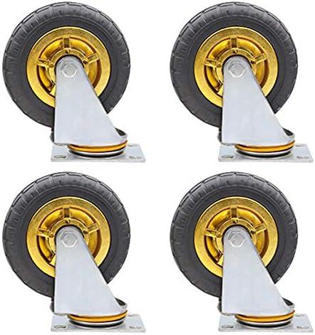 キャスター、3/4/5インチ方向性/ユニバーサル/ブレーキ中型サイレントゴムフラットトロリーキャスター