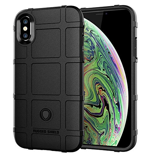 LABILUS iPhone Xs MAX case, (Rugged Shield Series) TPU Thick Solid Rough Armor Tactical Protective Cover Case for iPhone Xs MAX (6.5 inch) - Dark Black