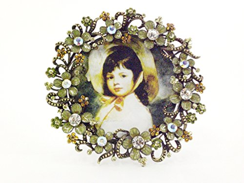 Ciel Collectables Floral Julie Round Picture Frame with Hand Set Clear Swarovski Crystal, Hand Painted Light Green Enamel Over Solid Pewter Base. Back Of Frame Made with Stylish Metal, Holds 3.5 X 3.5 Inch Pictures (Frame Swarovski Jeweled Enamel)