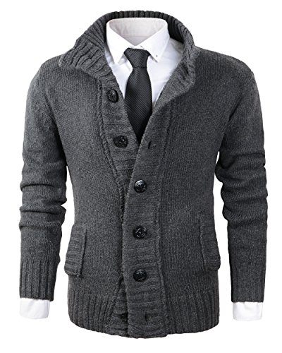 Benibos Men's Button Point Stand Collar Knitted Slim Fit Cardigan Sweater (L, CYMY Grey) by Benibos