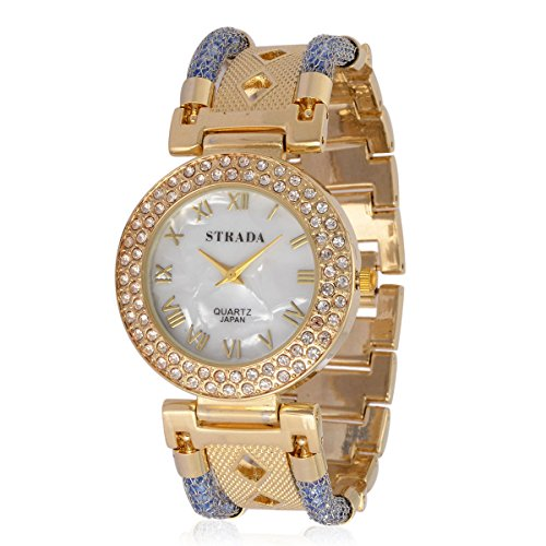 tal Japanese Movement Watch in Goldtone with Stainless Steel Back (Womens Austrian Crystal Watch)
