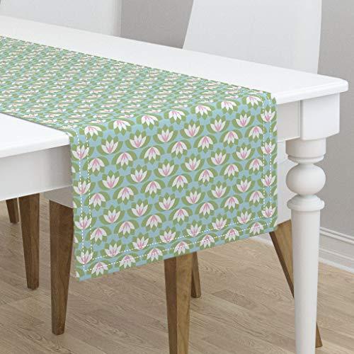 (Table Runner - Lotus Lotus Art Deco Mint Blush Baby Girl Modern Nursery Lotus Water Lily Pond by Risarocksit - Cotton Sateen Table Runner 16 x 90)