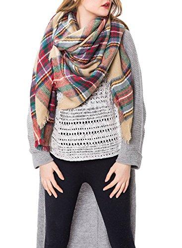 Womens Winter Scarf Warm Plaid Blanket Large Tartan Shawl Cozy Lattice Scarves