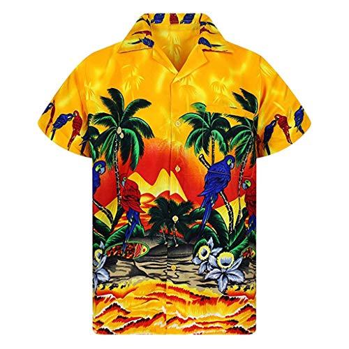 Men's Button Hawaii Shirts Beach Short Sleeve Front Pocket Quick Dry Tops Yellow