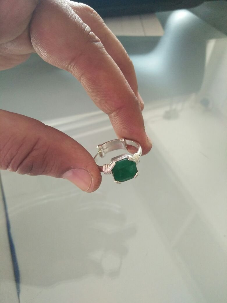 8 ct Natural Green Emerald Gemstone 92 5 Silver Adjustable Ring for Men &  Women