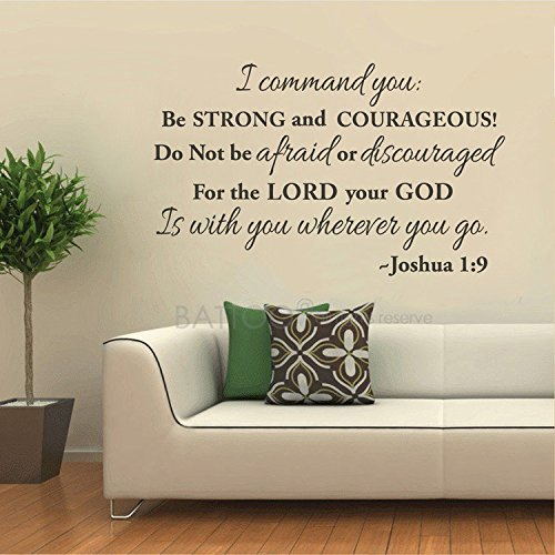 BATTOO Be Strong and Courageous Wall Decal Quote - Bible Verse Christian Decor - Joshua 1:9 Decal Vinyl Lettering Scripture Wall Decals(Black, 50