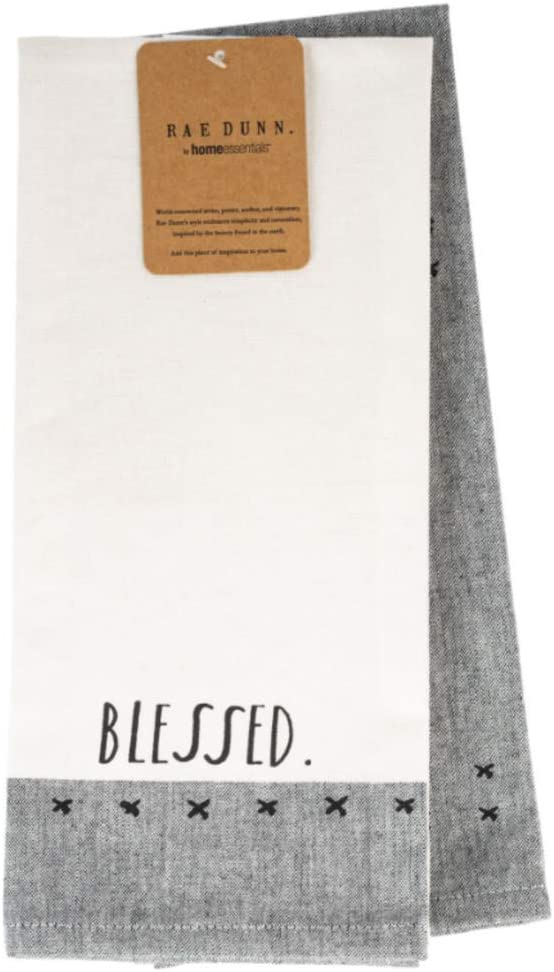 Rae Dunn Kitchen Towels White and Black 2 Piece Set Farmhouse Accessories for Everyday Use (Black-Blessed)