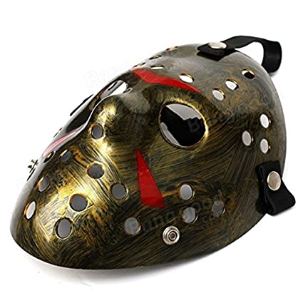 Winnerbe Old Jason Voorhees Halloween Mask Horror Hockey Mask Mask Halloween Costume Prop Bronze & Red
