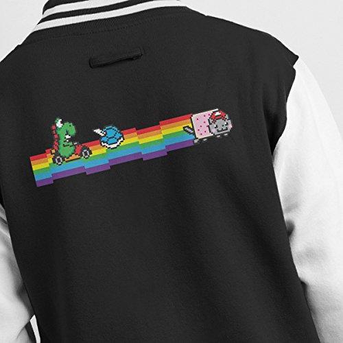 Jacket Nyankart Mario white Men's Yoshi Black Varsity RRUZ1q