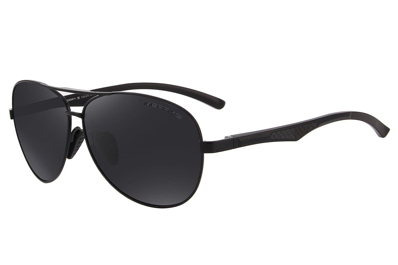 28777cf74f6 Amazon.com  MERRY S Men Pilot Sunglasses HD Polarized For Unisex Driving  Sun glasses S8228 (Black Black