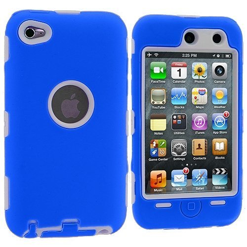 White Hard / Blue Skin Hybrid Case Cover compatible with Apple iPod Touch 4G, 4th Generation, 4th Gen 8GB / 32GB / 64GB