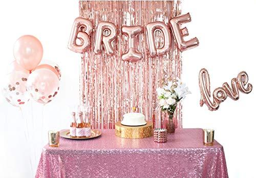 Rose Gold Bridal Shower Decorations & Bachelorette Party Balloons- Kit Includes: Bride & Love Foil Balloons, Rose Gold Fringe Curtain, Confetti & Rose Gold Latex Balloons by Mandie's Party Shop by Mandie's Party Shop