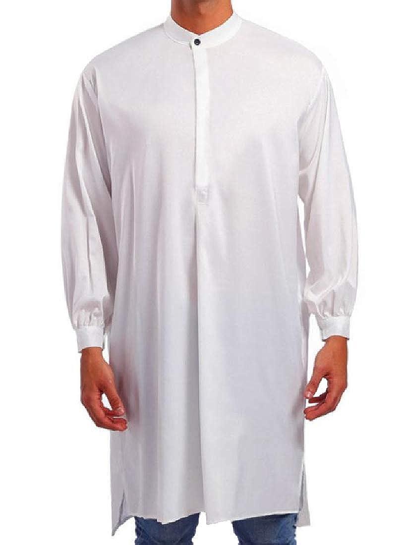 Mfasica Mens Slim Casual Muslim Abaya Stand-up Collar Top Shirt