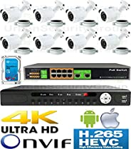 USG 4MP 8 Camera Security System H.265 Ultra 4K PoE IP CCTV Kit : 8x 4MP 2.8mm Bullet Camera + 1x 36 Channel 8MP NVR + 1x 10 Port PoE Network Switch + 1x 4TB HDD : Free Phone App : Business Grade