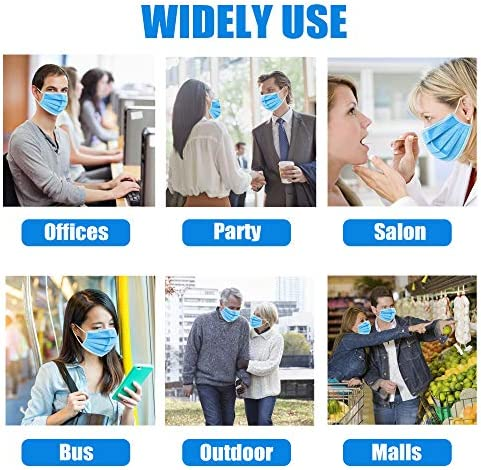 ???? ????? ??? ??????????? ?????????? - Box of fifty Individually Wrapped (10pcs x 5 Packages), 3 Ply Blue Disposable Breathable Masks with Nose Wire & Elastic Ear Loops