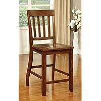 Furniture of America Castile Transitional Pub Chair, Dark Oak, Set of 2