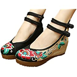 AvaCostume Women's Embroidery Floral Strappy Round Toe Platform Wedges Cheongsam 38 Black
