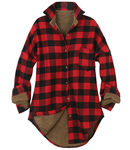 (ililily Women Checkered Plaid Sherpa Lined Flannel Long Shirt Trucker Jacket (Medium, Buffalo Red)