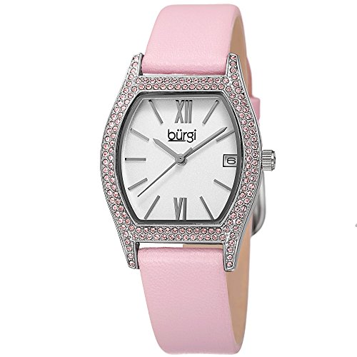 Burgi Women's Matte White Dial with Swarovski Crystal Accented Silver-Tone Case on Genuine Leather Pink Strap Watch BUR166PK