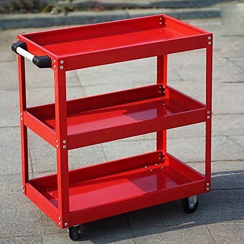 工具入れカート 自動車修理ツールトロリー3階建ての多機能車シェルフキャビネットベンチのハードウェア部品 工具カート キャビネット (色 : Red, Size : 72x36x75cm)