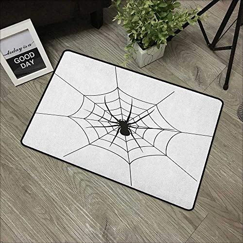 Learning pad W19 x L31 INCH Spider Web,Black Spooky Spider Weighs on a Web Creepy Crawly Organism Tangled Monochrome, Black White Our Bottom is Non-Slip and Will not let The Baby Slip,Door Mat Carpet