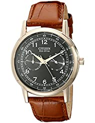 Citizen Mens Eco-Drive Rose-Gold Stainless Steel Watch with Day/Date, AO9003-08E
