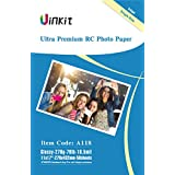 RC Ultra Premium Photo Paper - 11x17 High Glossy Photographic Paper 100% Waterproof - Uinkit 50Sheets For Inkjet Printing