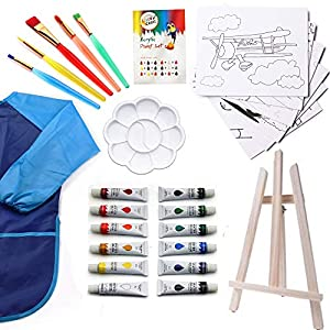Paint Set For Kids – 27 piece Kids paint sets, Painting Supplies for Drawing, Kids Art Canvas Painting