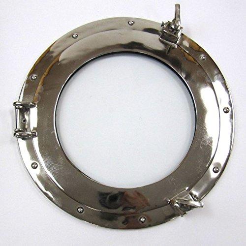 "Benzara Porthole Mirror Chrome Plated Long Lasting Wall Decor, 15"""