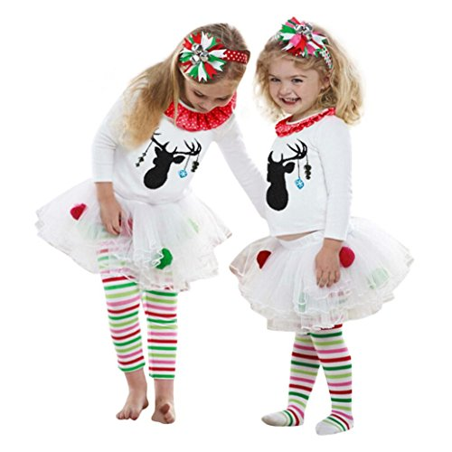 FEITONG Kids Baby Girl Deer T shirt Tops+Striped Tulle Tutu Pants Christmas Outfits Set