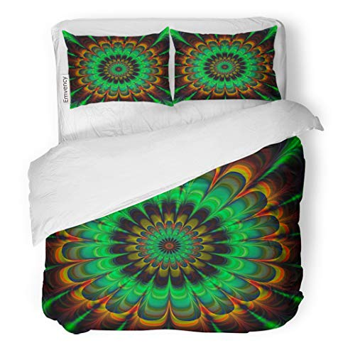 - Semtomn Decor Duvet Cover Set Twin Size Brown Fractal Abstract Flower in Verdigris Colors Digitally Rendered 3 Piece Brushed Microfiber Fabric Print Bedding Set Cover