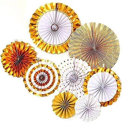 Misscrafts Gold Paper Fan, Paper Flower Fan for Party Decorations (8 Pack)
