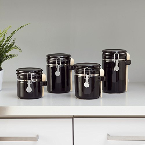 Home Basics 4PC Ceramic Canister Set W/Spoon (Black)