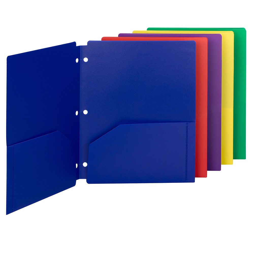 Smead Poly Snap-in Two-Pocket Folder, Letter Size, Assorted Colors, 10 per Pack (87939) by Smead